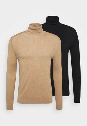 2 PACK - Strickpullover - beige/black