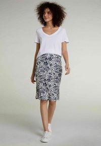 Oui - Pencil skirt - white blue - 1