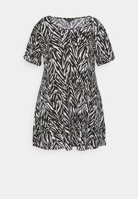 CAPSULE by Simply Be - PUFF SLEEVE SWING DRESS - Jersey dress - black - 0