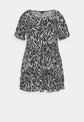 PUFF SLEEVE SWING DRESS - Jersey dress - black