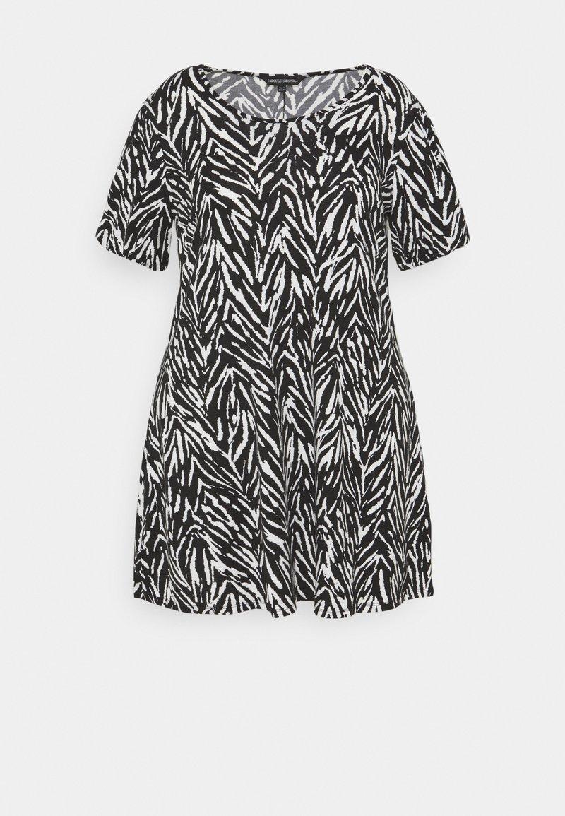 CAPSULE by Simply Be - PUFF SLEEVE SWING DRESS - Jersey dress - black