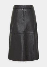 Selected Femme Tall - SLFOLLY  MIDI SKIRT - Leather skirt - black - 6