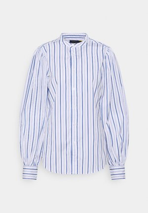 LONG SLEEVE BUTTON FRONT - Button-down blouse - white/blue