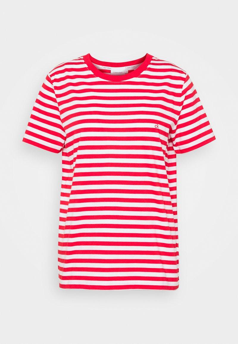 Calvin Klein - LOGO STRIPE - Print T-shirt - red glare/bright white