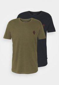 Pier One - 2Pack - T-shirt - bas - olive/dark blue - 6