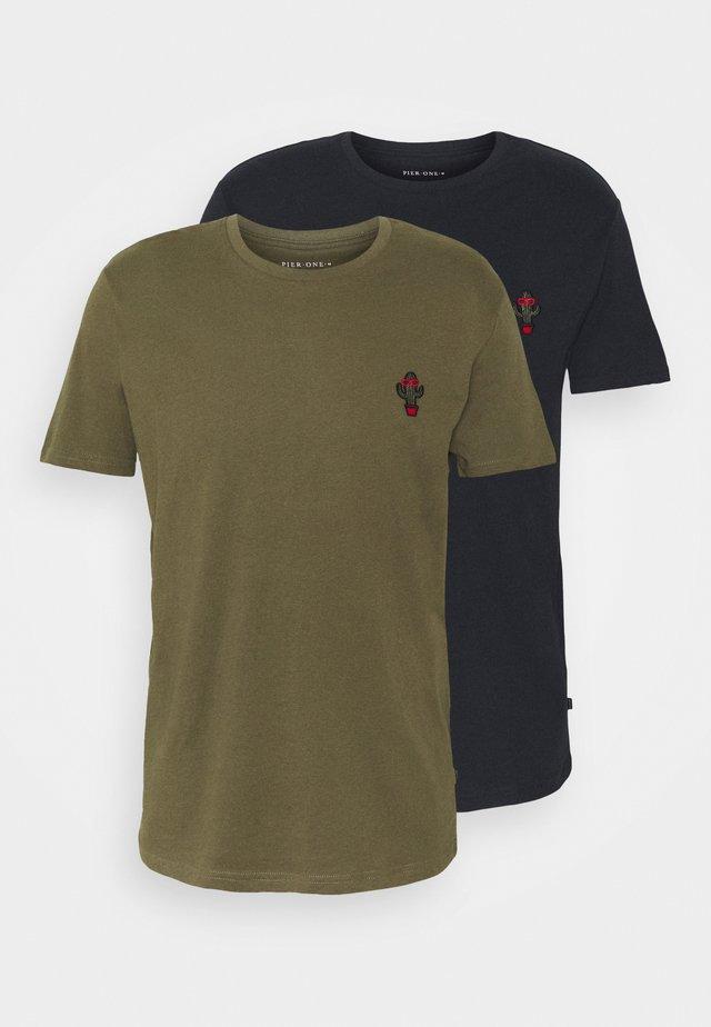 2Pack - T-shirt basic - olive/dark blue