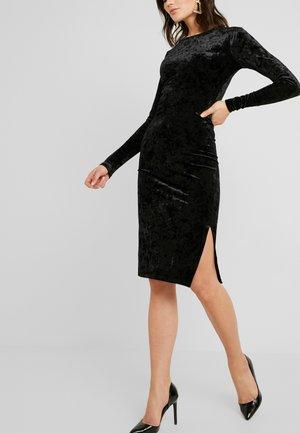 SLIT FRONT MIDI DRESS - Pouzdrové šaty - black