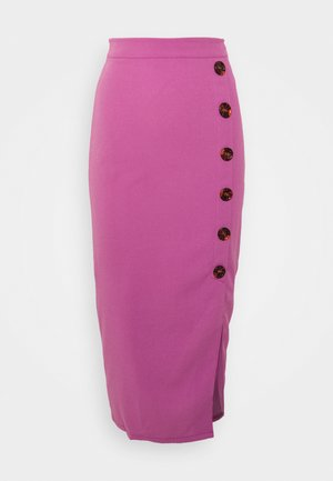 BUTTON DETAIL SKIRT - Pencil skirt - dark blush