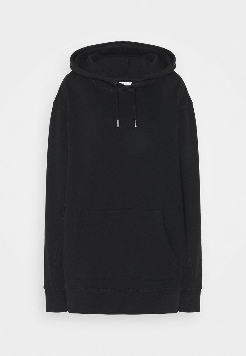 Topshop Tall - OVERLOCK HOODIE - Sweatshirt - black