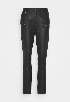 ANGELIA PANTS - Leather trousers - black
