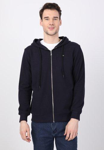 Zip-up hoodie - navy/neongreen