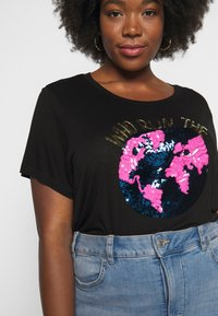 Simply Be - SEQUIN WORLD  - T-shirts med print - black - 5