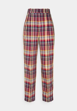 PLEATED CHECKED PANTS - Trousers - lava red