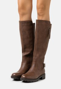 Dorothy Perkins - KAPTAIN ZIP CLEATED LONG BOOT - Vysoká obuv - choc - 0
