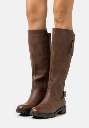 KAPTAIN ZIP CLEATED LONG BOOT - Kozaki - choc