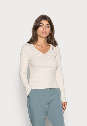 YASELLE V NECK ICON - Long sleeved top - tapioca