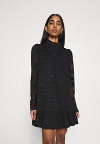 Missguided - HIGH NECK FRILL HEM DRESS - Day dress - black - 0