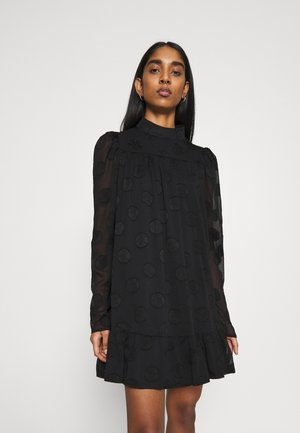 HIGH NECK FRILL HEM DRESS - Day dress - black