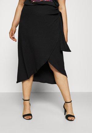 TEXTURED WRAP SKIRT - Pencil skirt - black