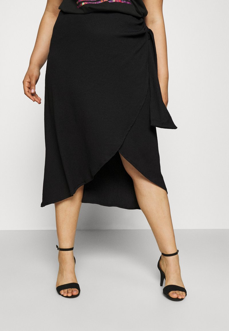 CAPSULE by Simply Be - TEXTURED WRAP SKIRT - Pencil skirt - black