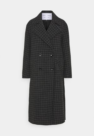 PLAID COATING LONG DOUBLE BREASTED COAT - Classic coat - charcoal multi