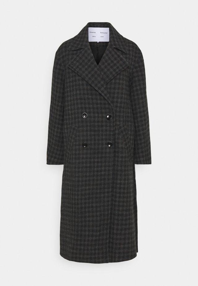 PLAID COATING LONG DOUBLE BREASTED COAT - Abrigo - charcoal multi