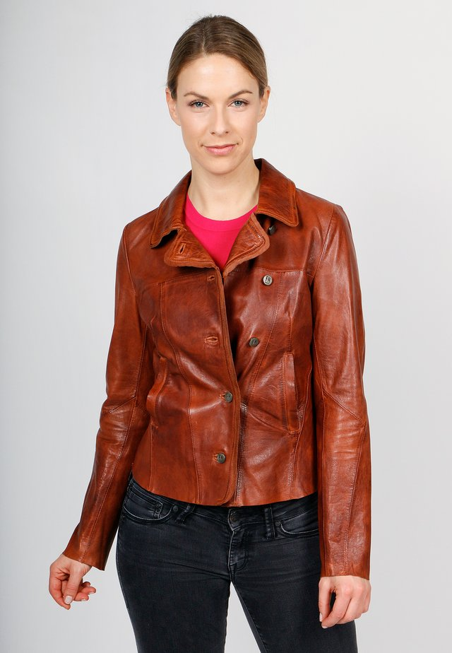 MISS MARBLE-FN - Leather jacket - cognac