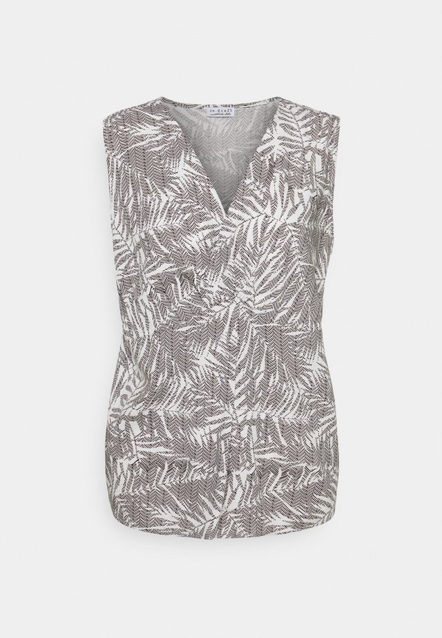 PRINTED KNOT BLOUSE PALM LEAVES - Camicetta - print wool white