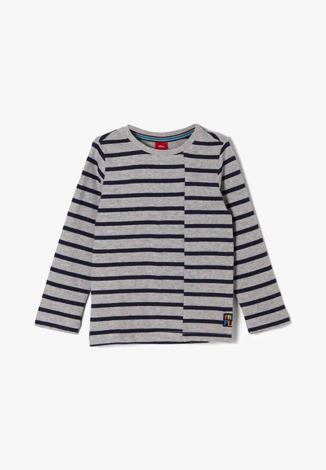Long sleeved top - grey melange stripes