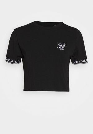 CROP TECH TEE - Camiseta estampada - black
