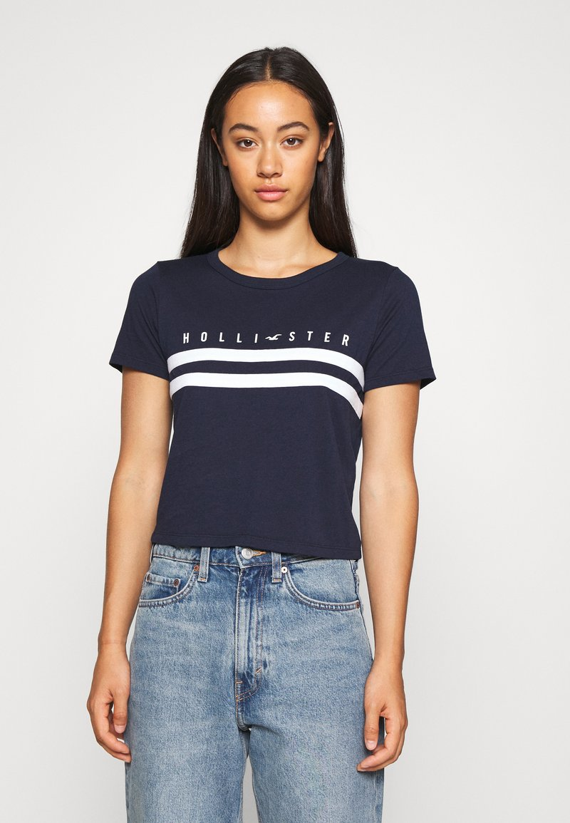 Hollister Co. - TUCKABLE SPORTY - Print T-shirt - navy