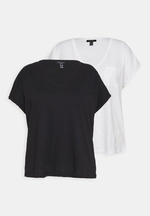 ORGANIC V NECK POCKET TEE 2 PACK - Basic T-shirt - black/white