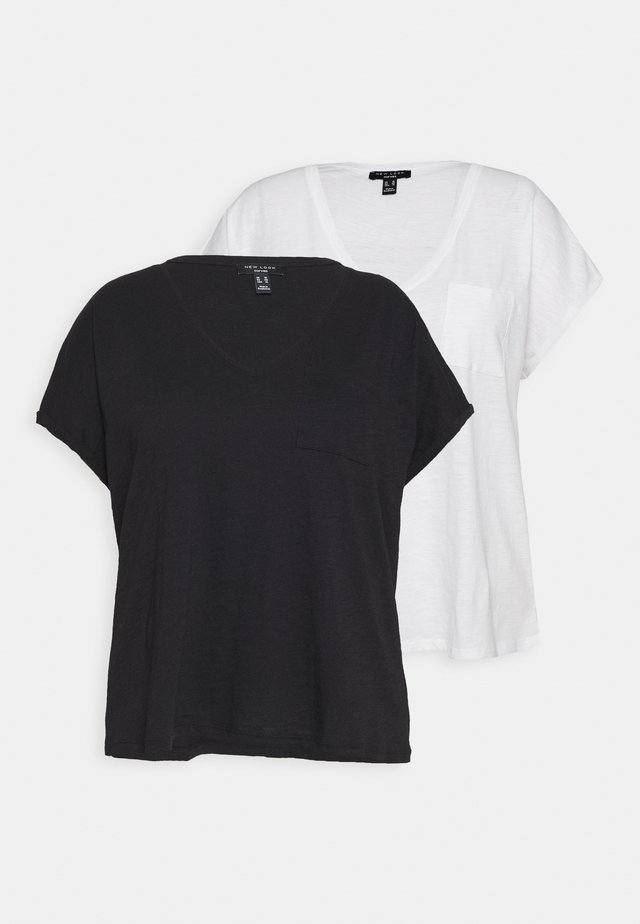 ORGANIC V NECK POCKET TEE 2 PACK - T-shirt basique - black/white