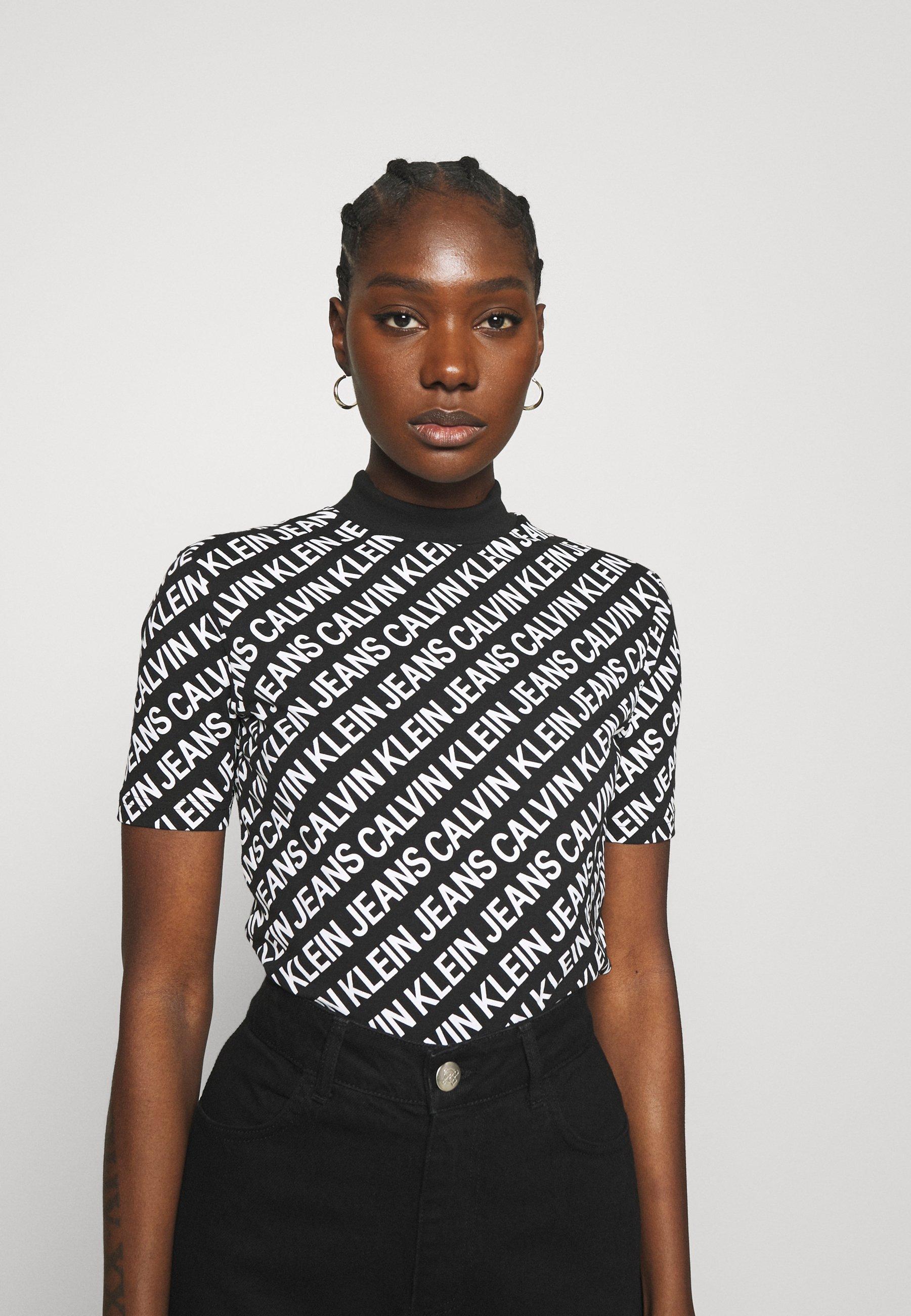 Damen SLIM MOCK NECK TEE - T-Shirt print