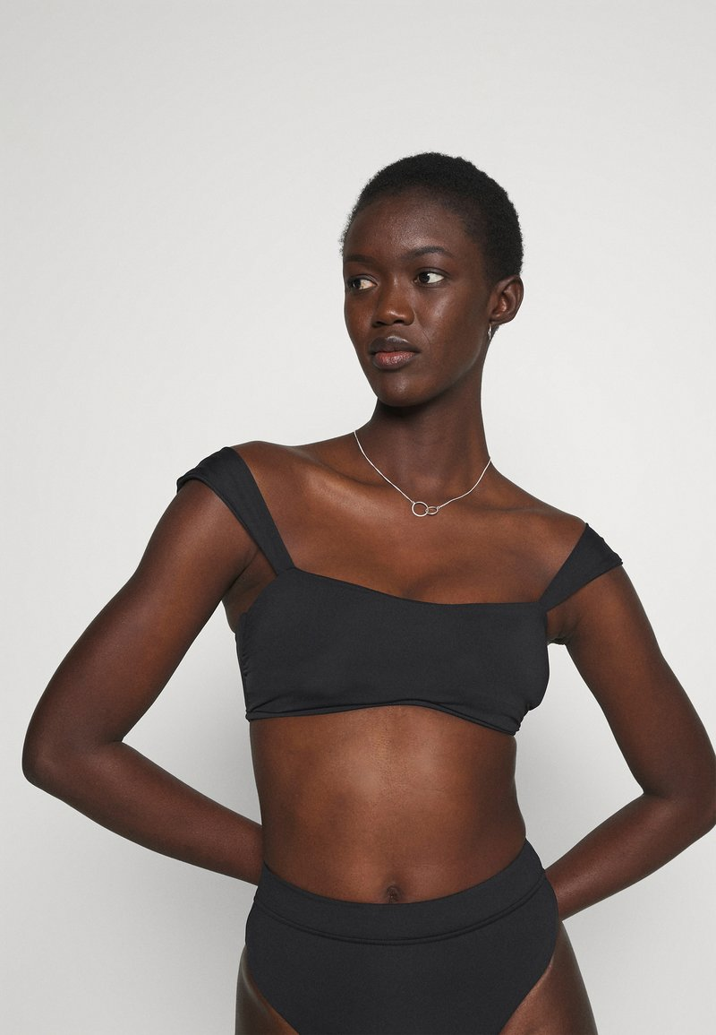 Seafolly - CAP SLEEVE BANDEAU - Bikini top - black