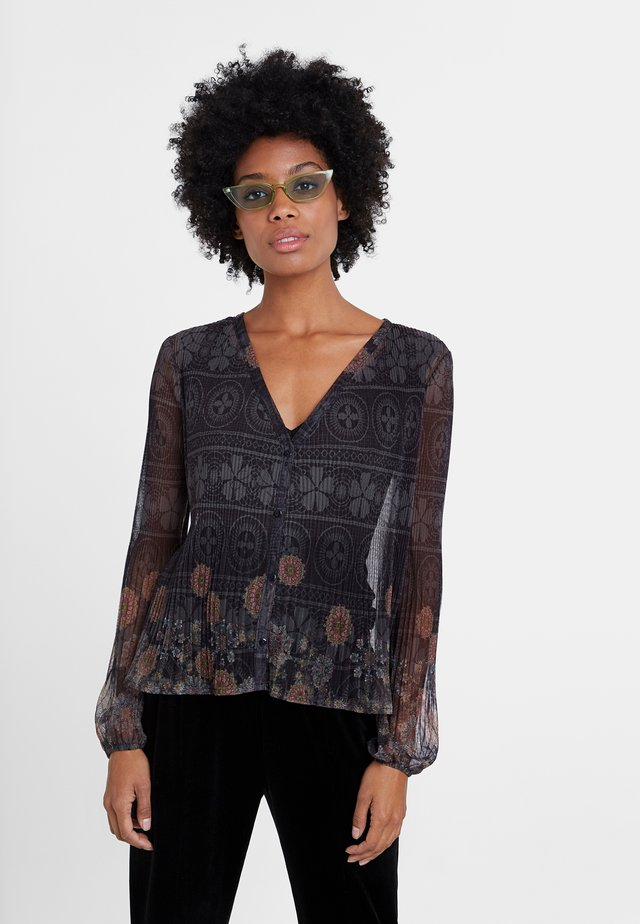 MAGDA - Button-down blouse - black