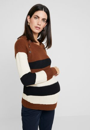 NURSING STRIPPED WITH BUTTONS - Jumper - brown