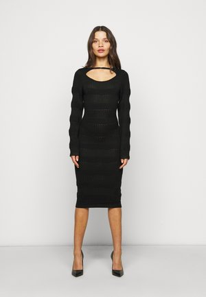 MIDI DRESS - Sukienka dzianinowa - black