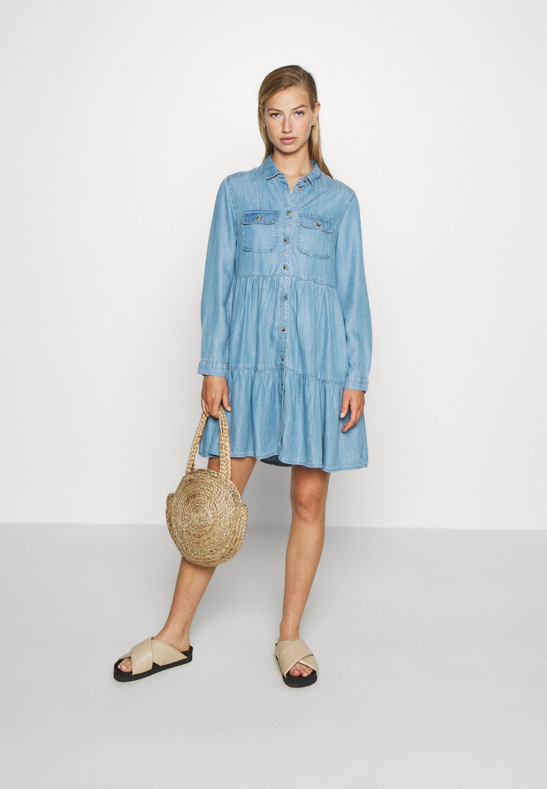 Superdry Tiered Dress - Dongerikjole Light Indigo Used/blå Denim
