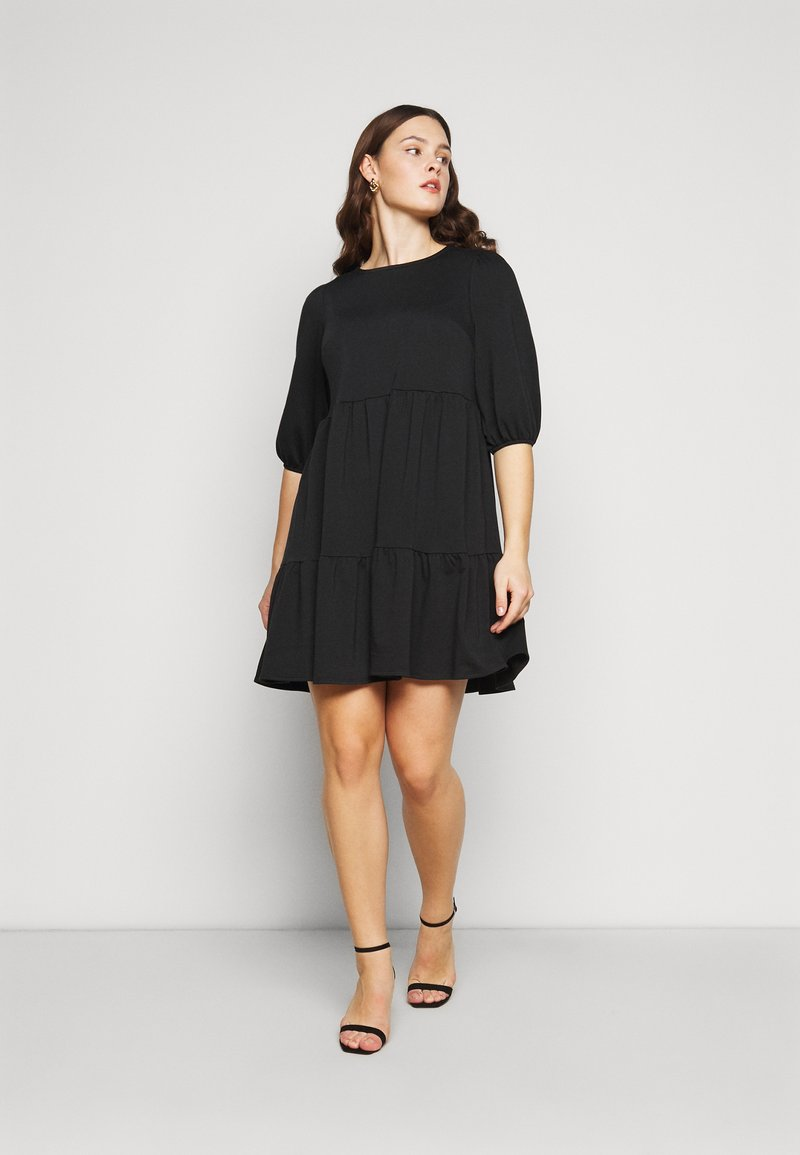 New Look Curves - TIER LOOPBACK SMOCK - Jersey dress - black