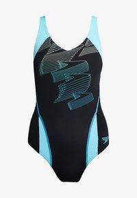 Speedo - BOOM - Swimsuit - black/aqua splash/bright zest - 4