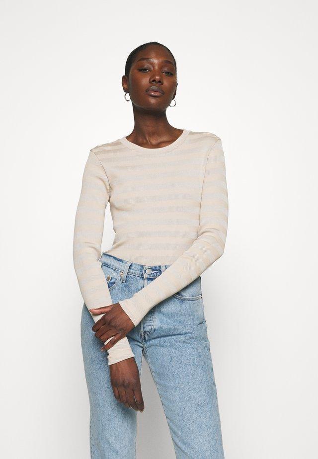 TONAL STRIPE TUBA - Long sleeved top - warm beige