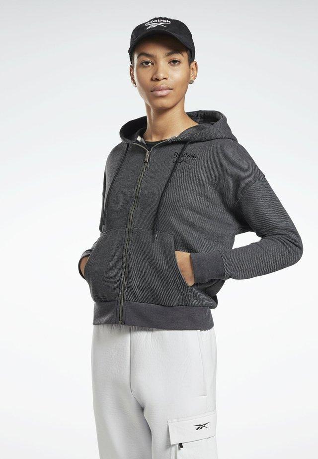 TEXTURED ZIP-UP HOODIE - Zip-up hoodie - black