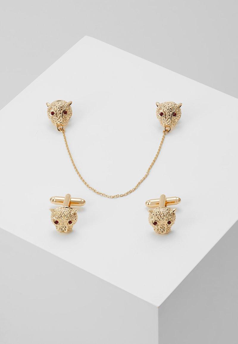 Topman - LION CUFFLINK COLLAR TIP SET - Muut asusteet - gold-coloured