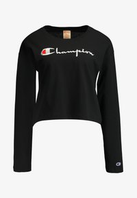 Champion Reverse Weave - BIG SCRIPT CROPPED - Top s dlouhým rukávem - black