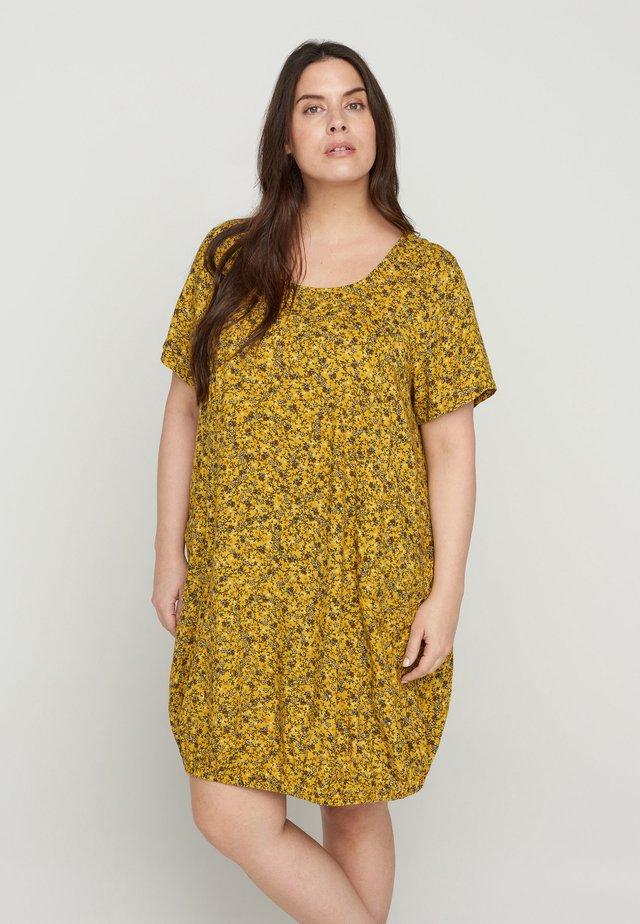 Korte jurk - yellow ditsy flower