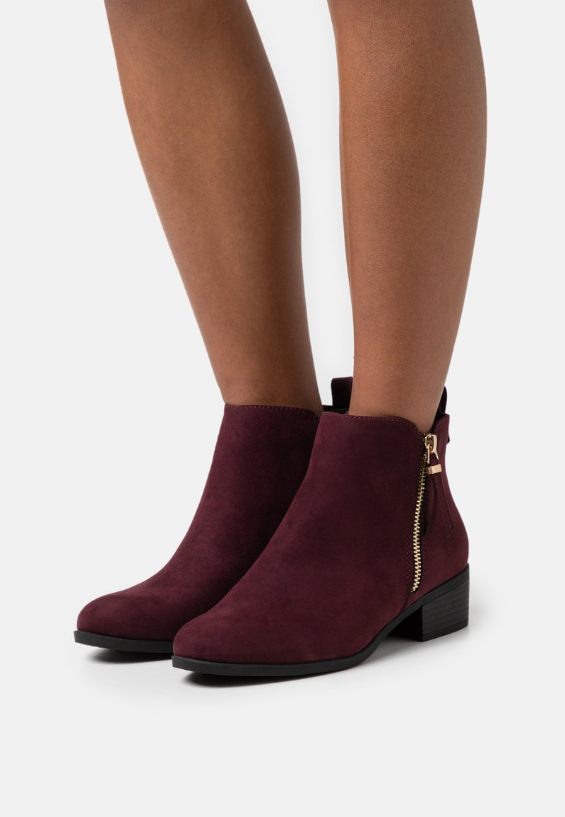 Dorothy Perkins Wide Fit - WIDE FIT MACRO SIDE ZIP  - Ankle boots - burg