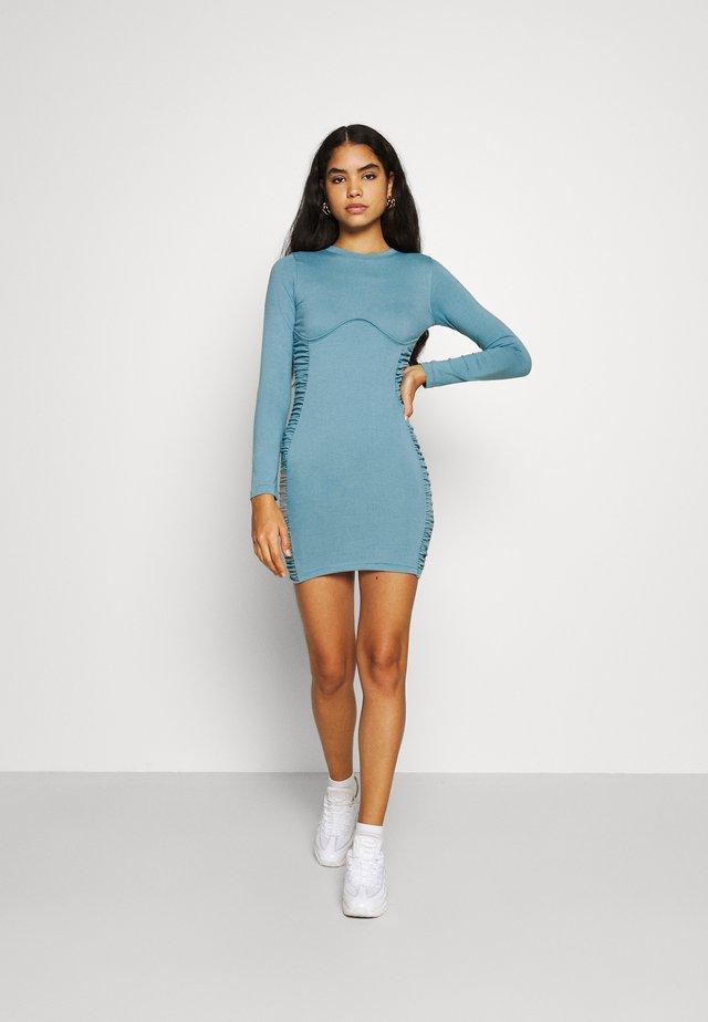 RUCHED SIDE MINI DRESS - Jerseyjurk - blue