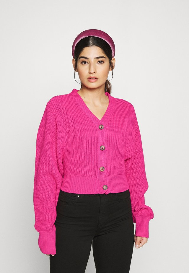 CROPPED WITH LOW V NECK AND PUFF LONG SLEEVES - Vest - fuschia