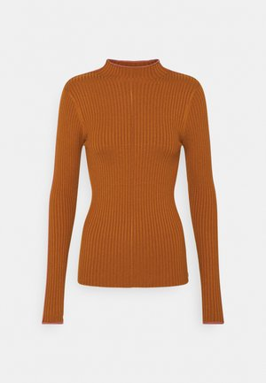 HIGH NECK WITH CONTRAST PIPING - Jumper - spice